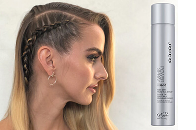 Models Braid on the Side with Power Spray Bottle