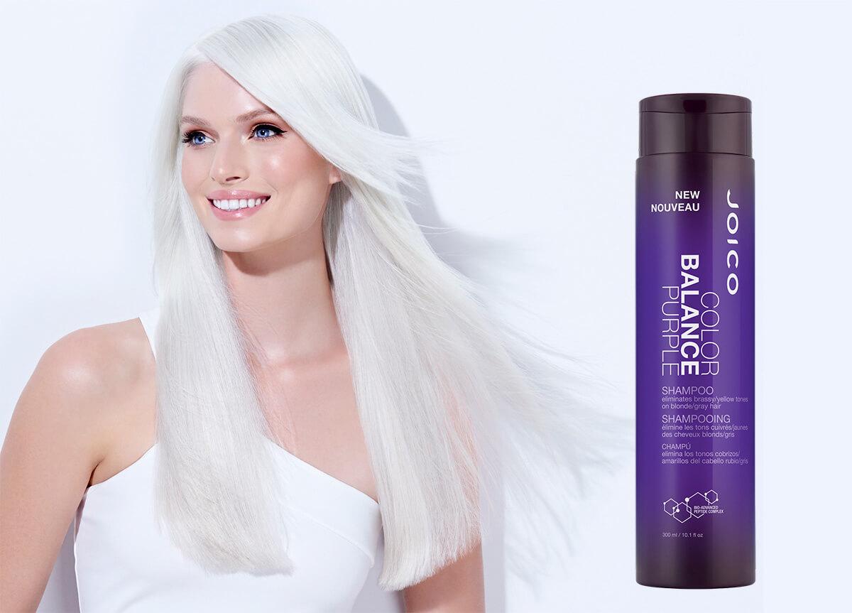 Color Balance Purple Shampoo Model and Product