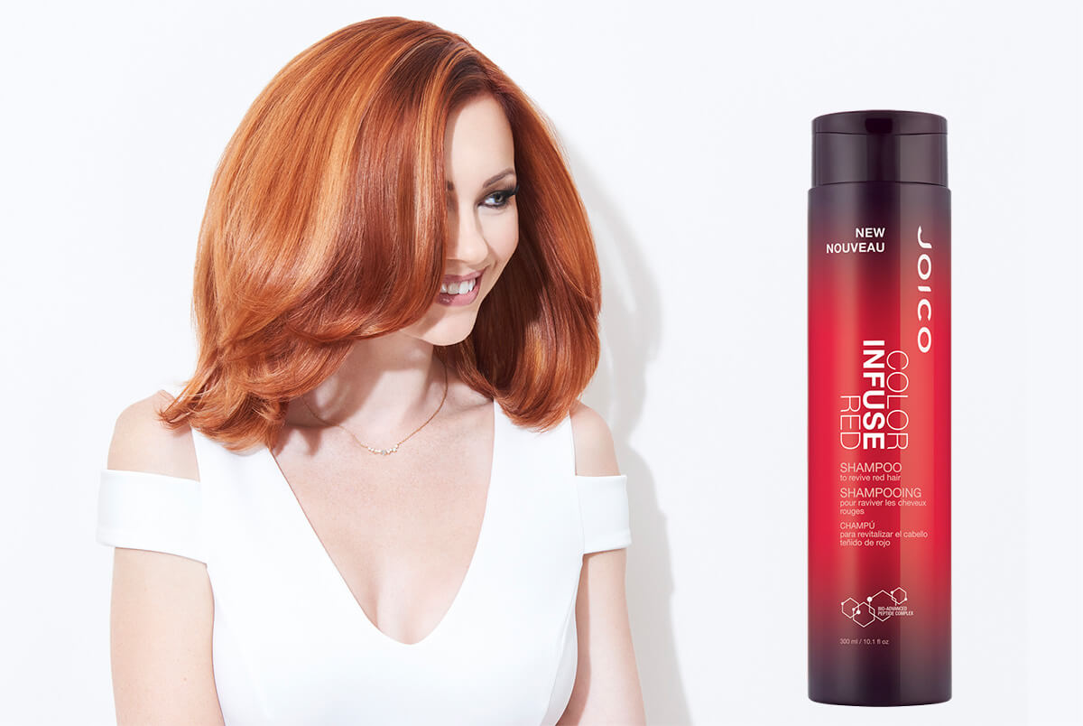 Color Infuse Red Shampoo product and Model