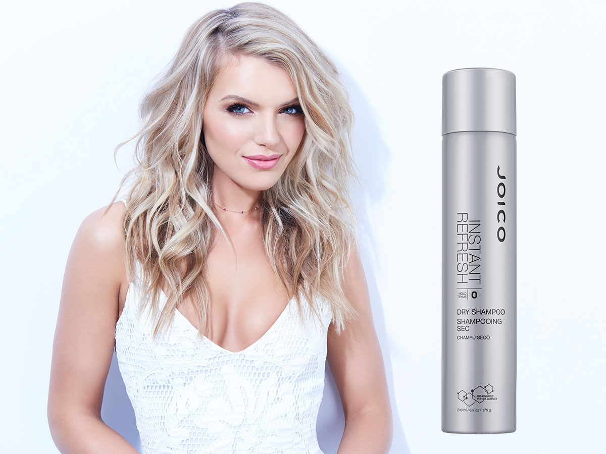 Instant refresh dry shampoo and model