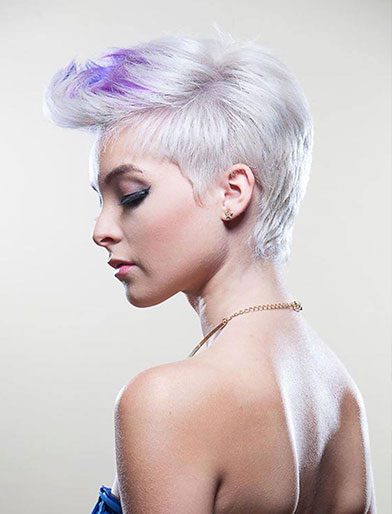 Margiela Figueroa Roman cut and color hairstyle on model