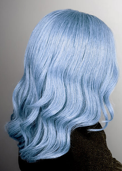 Model showing soft blue hair