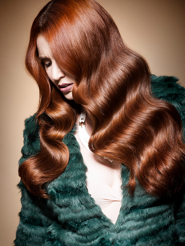 Sevda Durukan hair model with vibrant red hair