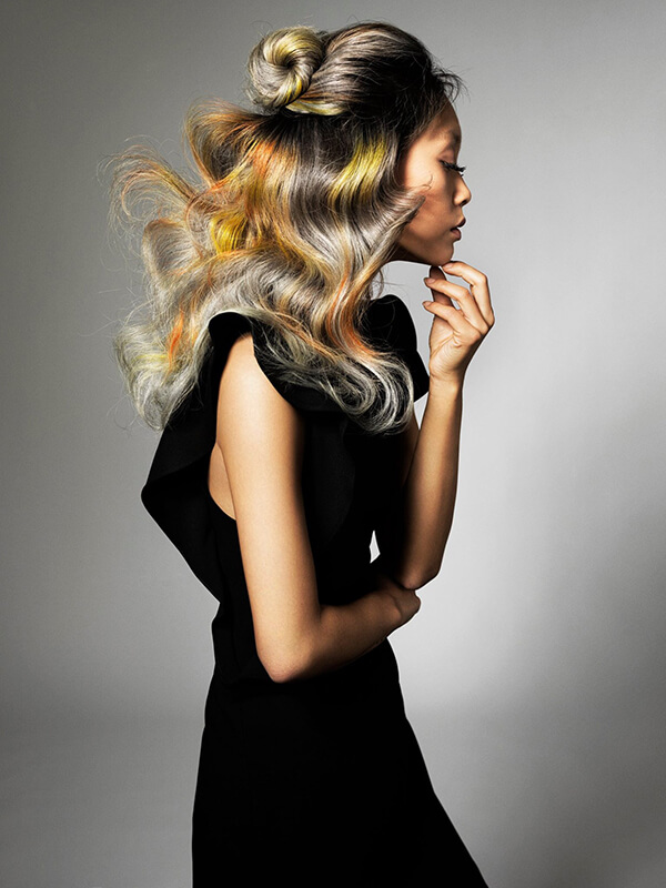 Sevda Durukan hair model with yellow and black hair