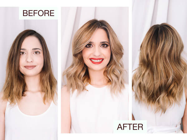 Summer look color before after