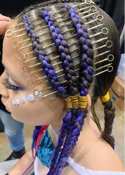 Model showing braided hair look