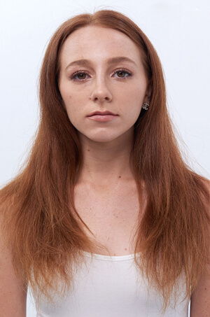 Woman with red damaged hair