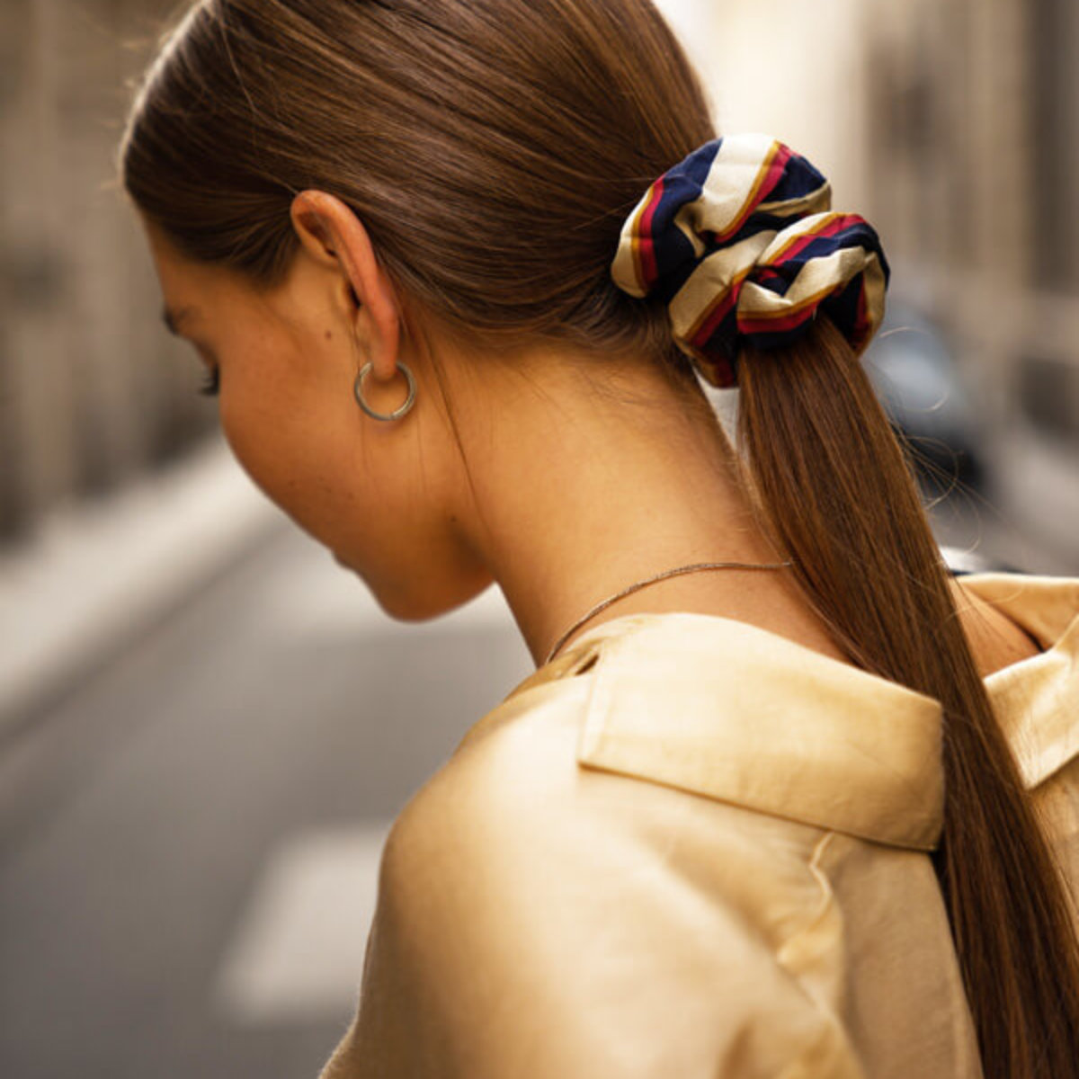 Womens hair in scrunchie