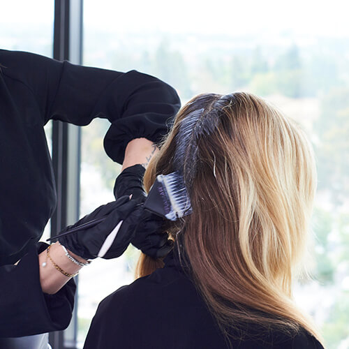 Hair being colored with hair dye