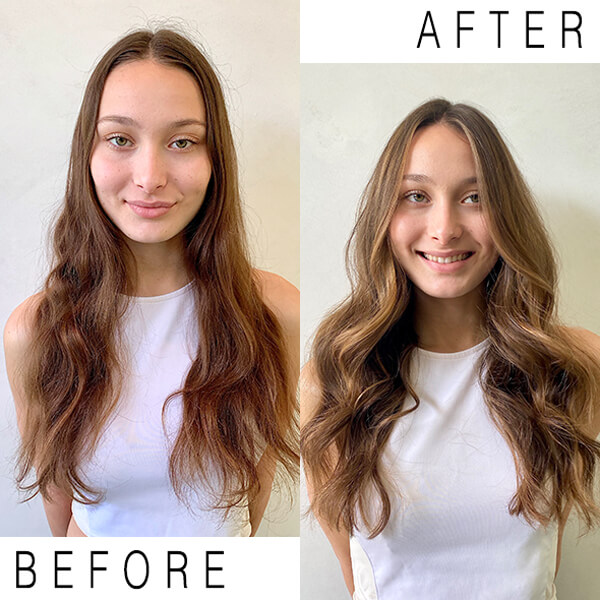 Brunette hair before and after coloring