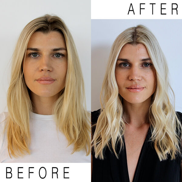 Blonde hair before and after coloring service