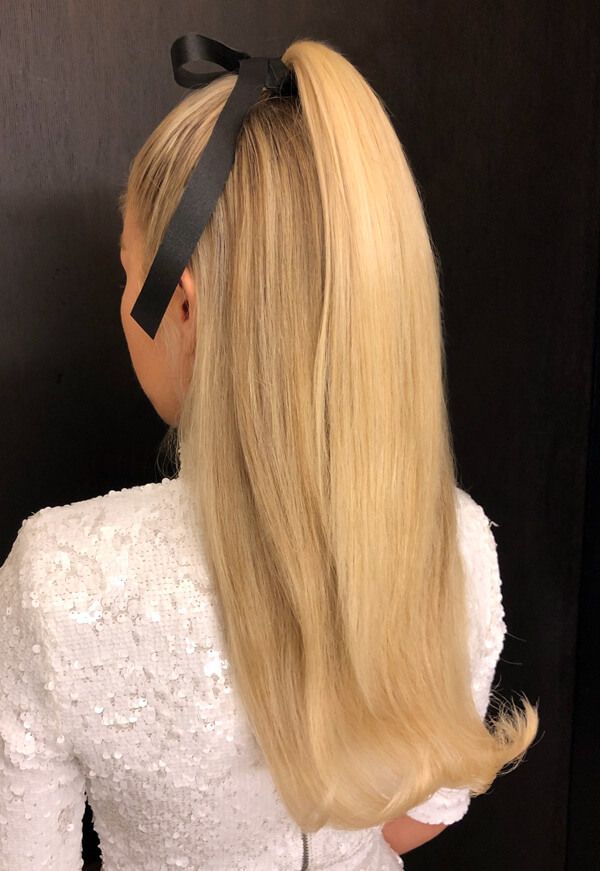 High ponytail with bow