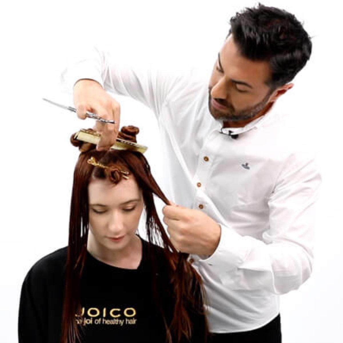 Stylist Richard Mannah Cutting Hair