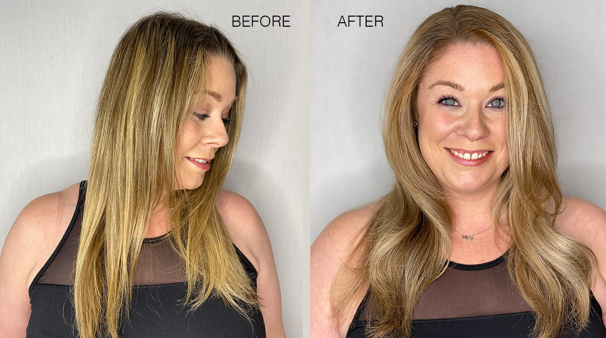 Womens hair before and after hair coloring